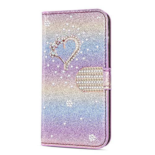 Unichthy iPhone SE 2020 / iPhone 8 / iPhone 7 Case Glitter 3D Gems Love Heart Bling Wallet Flip Case Shockproof PU Leather Stand Magnetic Folio Silicone Gel Protective Phone Cover - Rainbow Pink