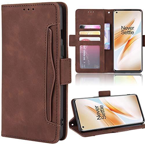 Miimall Handyhülle für OnePlus 8, Premium PU Leder Flip Hülle Wallet Hülle mit Kartenfach Magnetverschluss Standfunktion Lederhülle Schutzhülle für OnePlus 8 Pro - Braun