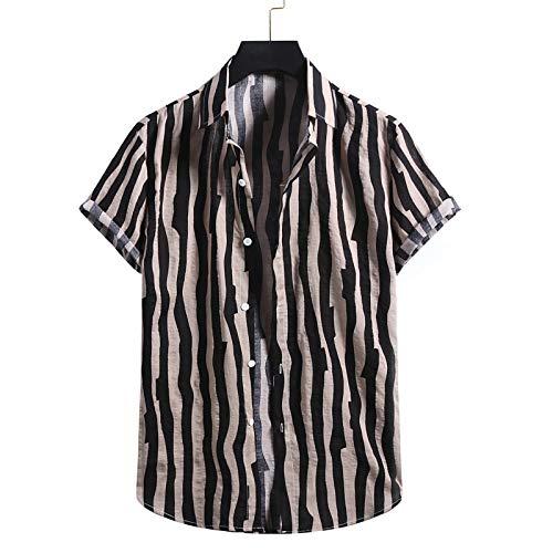 Camisa de Manga Corta Estampada a Rayas de algodón y Lino para Hombre