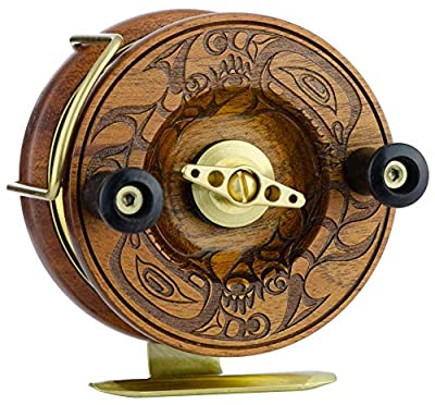 Peetz Trolling Reel, 4-Inch Single Action | 'Evolution RS' | Handcrafted| Mahogany Wood & Brass | Nottingham Style | 'Sisiutl' (Sea Monster) Face Design