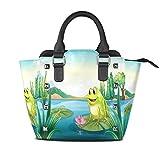 Use4 Frog Water Lily River Rivet PU Leather Tote Bag Shoulder Bag Purse