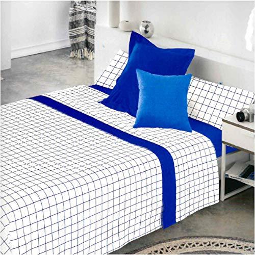 COTTON ARTean Juego de sabanas Cuadros Azul Cama de 90 x 190/200.