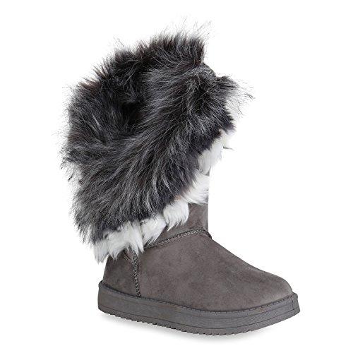 Damen Schuhe Schlupfstiefel Kunstfell Warm Gefütterte Stiefel Winter 152034 Grau 36 Flandell