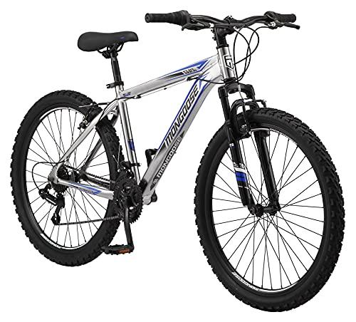 Mongoose Flatrock Mens Hardtail Mountain Bike, 26-Inch Wheels, 21 Speed Twist Shifters, 17-Inch Aluminum Frame, Silver