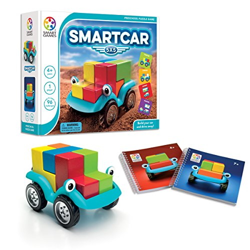 Image of the SmartGames Smart Car 5 x 5 Wooden Cognitive Skill-Building Puzzle Game Featuring 96 Playful Challenges for Ages 4+