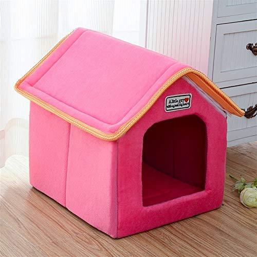 Ybqy Haustier-Haus-Klappbett mit Matte Soft-Winter-Leopard-Hundewelpen-Sofa-Kissen-Haus-Hundehütte-Nest-Hundekatzenbett for kleine...