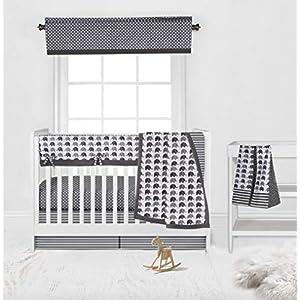 Bacati 6 Piece Boys Elephants Nursery-in-A-Bag Boys Crib Bedding Set with Long Rail Guard (White/Grey)