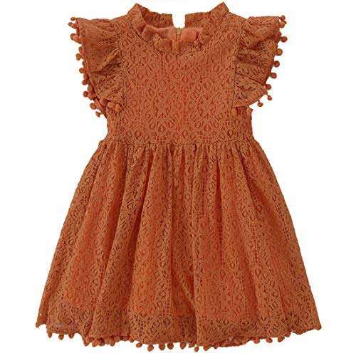 Niyage Toddler Girls Elegant Lace Pom Pom Flutter Sleeve Party Princess Dress Brick Red 120