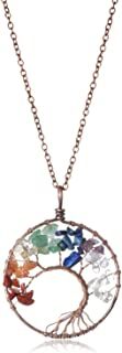 Tree of life Pendant Amethyst Rose Crystal Necklace Chakra Jewelry Mothers Day For Women