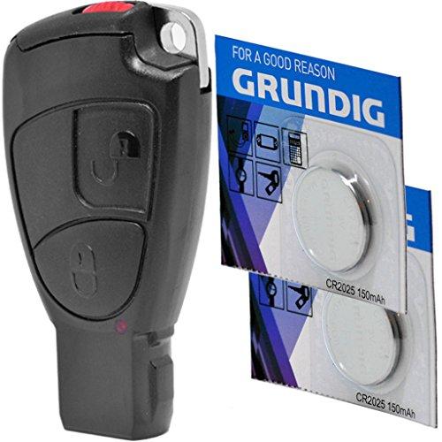 Auto Schlüssel Smartkey Funk Fernbedienung Sender Set 2 Tasten Gehäuse + Batteriehalter + Notschlüssel Rohling + 2X CR2025 Batterie für Mercedes Benz