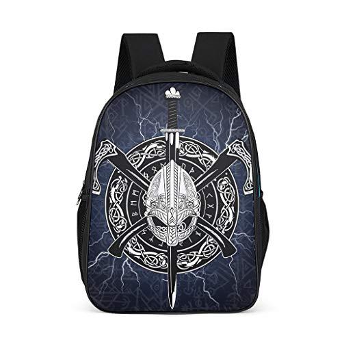 Wikinger Odin Schulrucksack Helm Axt Schwert Schultasche Schulranzen Daypack Rucksack Backpack Kinderrucksack Freizeitrucksack für Jungen Mädchen