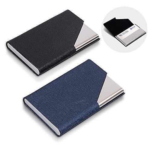 HomEdge - Soporte para tarjetas de visita, 2 paquetes profesionales de piel sintética y acero inoxidable para viajes y negocios, color negro y azul