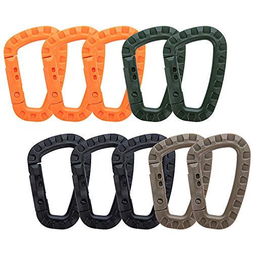Bligo 10 Stück Karabiner Klipp, Multifunktions D-Form Bergsteigen Schnalle, Tragbare Kunststoff Stahl Klettern Karabiner für Schlüsselanhänger Rucksack Hängematte Haustier usw