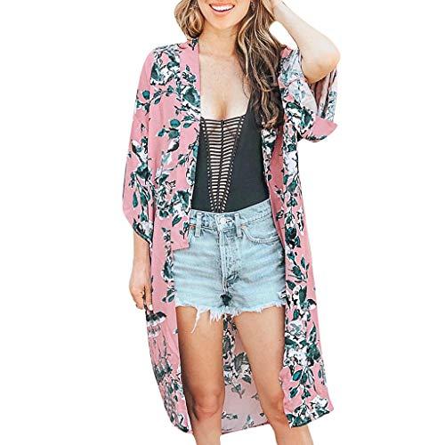 MRULIC Damen Florale Kimono Cardigan Boho Chiffon Sommerkleid Beach Cover up Leicht Tuch für die Sommermonate am Strand oder See (M, Z7-Rosa)