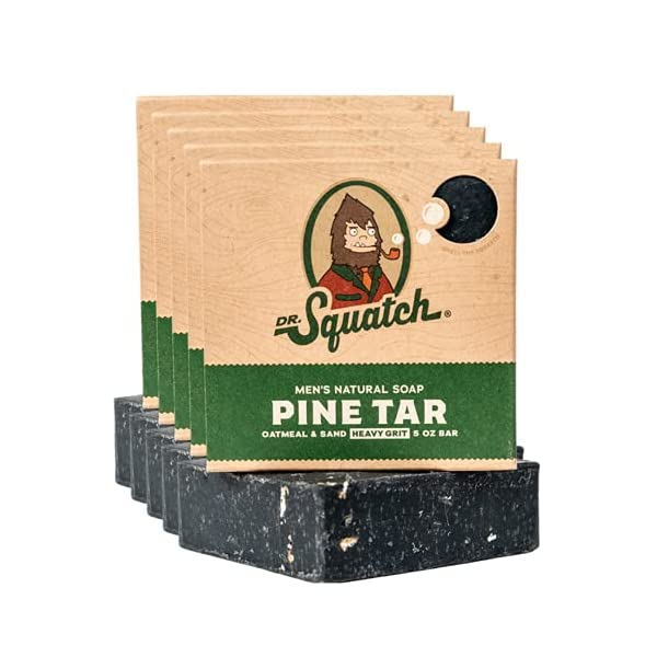 Dr. Squatch Pine Tar Soap 5-Pack Bundle – Mens Bar with Natural Woodsy Scent and Skin Exfoliating Scrub – Handmade with… 1