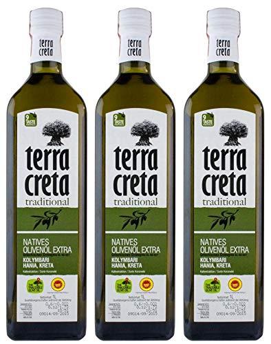 3x 1,0l Terra Creta Olivenöl P.D.O. Kolymvari | Extra natives Olivenöl von Kreta | + 1 x 20ml Olivenöl Probe aus Griechenland