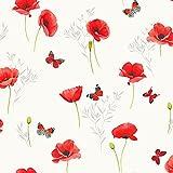 Wachstuch Meterware – Breite 140 cm – Mohnblume – Rot
