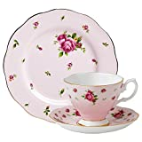 Royal Albert New Country Roses 3 pc Tea set, 8' Dessert Plate, Mostly Pink with Multicolored Floral Print
