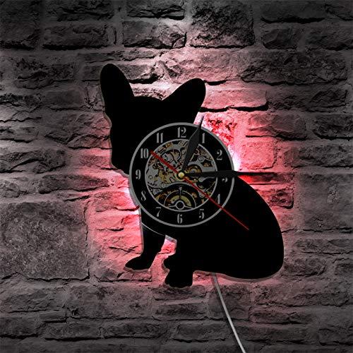 ROMK Relojes de Pared Bulldog francés Reloj de Pared Franco el Perro Raza Frenchie Perro Disco de Vinilo Reloj de Pared Cachorro Mascota Decoración del hogar Reloj de Silueta de Perro
