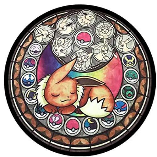 JBTM Pokemon Runder Teppich Schlafzimmer Kinderzimmer Rutschfestes Spiel Matte Für Wohnzimmer Niedlicher Cartoon-Bodenteppich,B,80X80CM