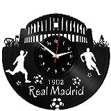 REAL MADRID Reloj De Pared Vintage Accesorios De Decoración del Hogar Diseño Moderno Reloj De Vinilo Colgante Reloj De Pared Reloj Único 12' Idea de Regalo Creativo vinilo pared Reloj REAL MADRID