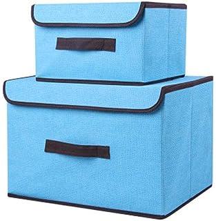 Onlyup Lot de 2 paniers de rangement en tissu pliable avec poignées en corde pour vêtements, jouets, bleu