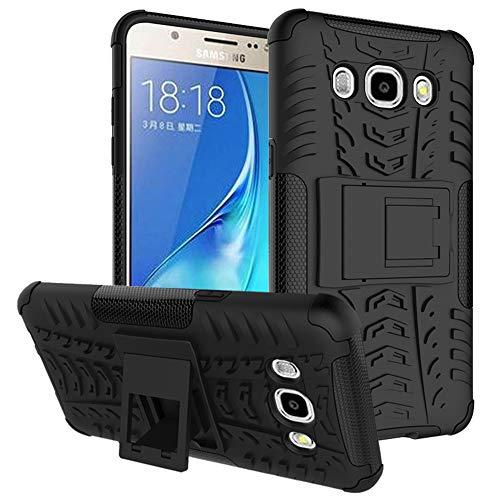 MAMA MOUTH Galaxy J5 2016 Funda, Heavy Duty Silicona híbrida con Soporte Cáscara de Cubierta Protectora de Doble Capa Funda Caso para Samsung Galaxy J5 J510 2016 Smartphone,Negro