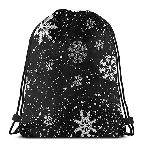 XCNGG Navidad Nieve Invierno Copos Mochila con cordón Bolsa Ligero Cinch Saco para Hombres Mujeres Bolsa de Almacenamiento Transpirable Bolsa para Deporte Gimnasio Yoga Natación Viajes