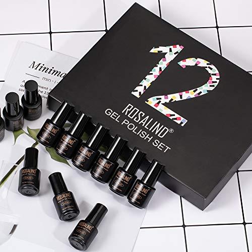 ROSALIND Esmalte Semipermanente UV LED 12pcs Kit Uñas de Pintauñas Gel Soak off Summer Color Sólido de Larga Duración Esmalte de Uñas 7ml