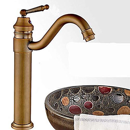 OGUAN Faucet de, Retro giratoria baño Grifo del Fregadero Antiguo artículo de Bronce Un Agujero/Sola manija Un Grifo Hermoso práctica Tapeo de Inodoro,