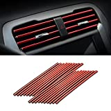 20 Pieces Car Air Conditioner Decoration Strip for Vent Outlet, Universal Waterproof Bendable Air Vent Outlet Trim Decoration, Suitable for Most Air Vent Outlet, Car Interior Accessories (Red)