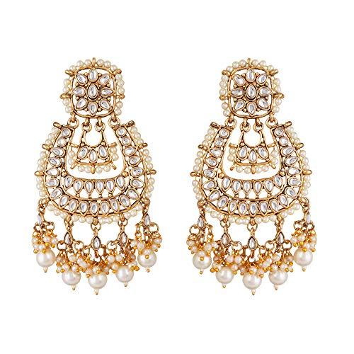 Jwellmart Ethnic Faux Kundan Drop Pearl Beads Dangle Earrings Bollyood Wedding Party Fashion Jewelry for Women gold