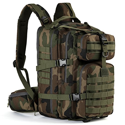 Gelindo Military Tactical Backpack, Hydration Backpack, Army Molle Bag, small Rucksack for Hunting, Survival, Camping, Trekking, School, 35L (CP-Green)