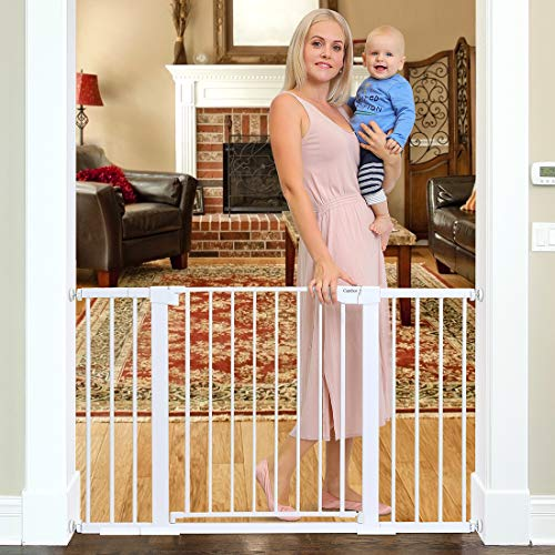 Cumbor 51.6-Inch Baby Gate Extra Wide, Easy Walk Thru Dog Gate for The House, Auto Close Baby Gates for Stairs, Doorways, Includes 2.75, 5.5 and 11 Extension Kit, Mounting Kit