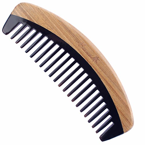 Breezelike Hair Comb - Wide Tooth Wooden Detangling Comb for Curly Hair - No Static Sandalwood...