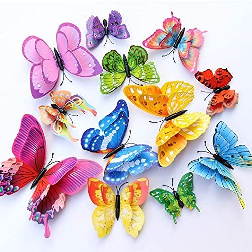 WandSticker4U, 24 adesivi 3D di alta qualità, colorati, con doppia ali e magnete, decorazione per parete, frigorifero, finestra, soggiorno, camera dei bambini, cucina, farfalle
