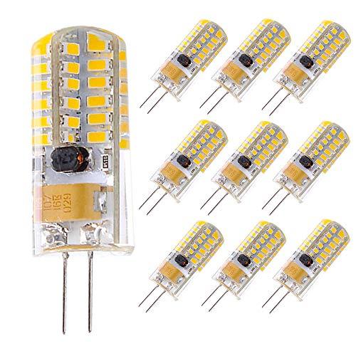 KitaBulb Paquete de 10 Bombillas LED G4 4W, Equivalente a halógenas Lámpara de 28W, 12V AC/DC Blanco Frío, 300LM Sin Parpadeo, luz de ángulo de luz G4 360 ° no regulable