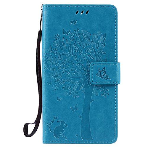 Lomogo OnePlus 3T / 3 Hülle Leder, Schutzhülle Brieftasche mit Kartenfach Klappbar Magnetverschluss Stoßfest Kratzfest Handyhülle Hülle für OnePlus3T / OnePlus3 - EKATU24033 Blau