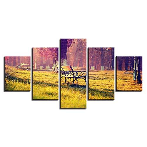 High Definition Abstrakte Moderne Micro Spray Wohnkultur Leinwand Ölgemälde Hängen Lounge Stuhl Und Sonne Landschaft Baum Fünf Gemälde
