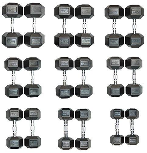 CrystalTec® - Mancuernas hexagonales de goma (simples y pares) - 6kg a 30kg, 1 x 16kg
