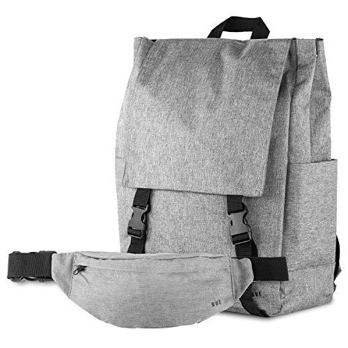 SVT Rucksack Daypack England Style 20-35 L mit Gürteltasche Grau I Praktisch Hochwertiger Alltags-Rucksack aus Polyester mit Stauraum für 2 Trinkflaschen und Laptop I All-Day Rucksack 30 x 42 x 17 cm