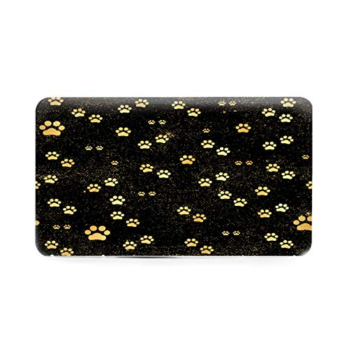OcuteO Mask Case Holder Gold Paw Print Dog Puppy Footprint On Black Plastic Mask Storage Box Masks Carrying Case Organizer Bag Container Accessories Portable Face Cover Protector Case
