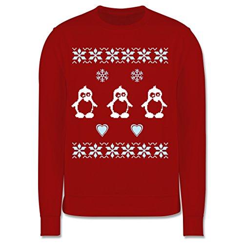 Shirtracer Weihnachten Kind - Norweger Pixel Pinguin - 116 (5/6 Jahre) - Rot - norwegen Pullover Kinder - JH030K - Kinder Pullover