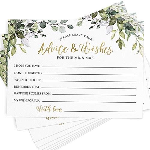 Advice and Wishes, 50 Cards, Greenery Eucalyptus Wedding Advice Cards, Bridal Shower Activity, Guestbook Alternative