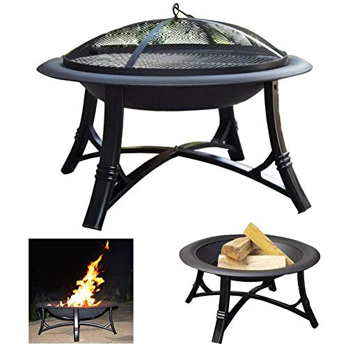 ZDYLM-Y Fire Pits, Outdoor Wood Burning Stainless Steel BBQ Grill Bowl with Screen and Log Poker, for Outdoor and Patio