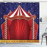 ABAKUHAUS Circo Cortina de Baño, Lienzo Tienda de Circo, Material Resistente al Agua Durable Estampa Digital, 175 x 200 cm, Azul Vermilion