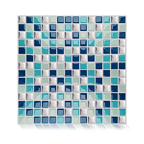 QOXEFPJZ Cenefa Adhesiva Cocina 10 PCS3D Mosaic Vinyl Cocina Peel and Stick Backsplash Papel Tapiz Autoadhesivo Pegatina Tile -10 * 10cm (Color : K, Size : 25.4cm)