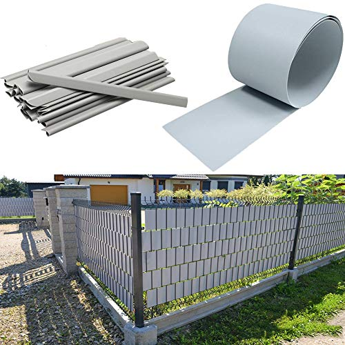 Decorative Fences 19cm Wide Fence Strips Metal Fence Railing Waterproof Anti-UV PVC Tarpaulin Indoor and Outdoor Cut Off Decorative Fence (Color : Gray, Size : 19x450CM)