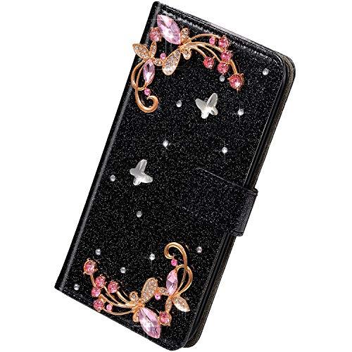 Herbests Kompatibel mit Samsung Galaxy S10e Hülle Leder Handyhülle Schmetterling Glänzend Bling Glitzer Diamant Strass Klapphülle Flip Case Brieftasche Schutzhülle Wallet Tasche,Schwarz