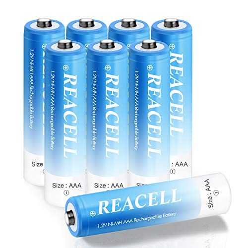 REACELL AAA Akku Micro Batterien Wiederaufladbar 8 Stück 1100mAh NI-MH 1,2V Akkubatterien geringe Selbstentladung mit Aufbewahrungsbox